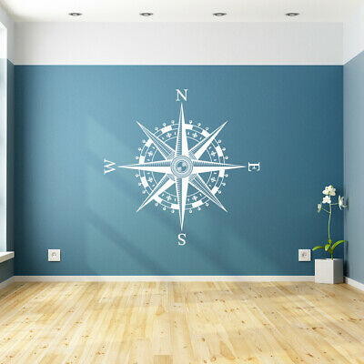 Compass Rose Vinyl Wall Or Ceiling Decal - Nautical Bedroom Art Map Decor K641 • 23.20£