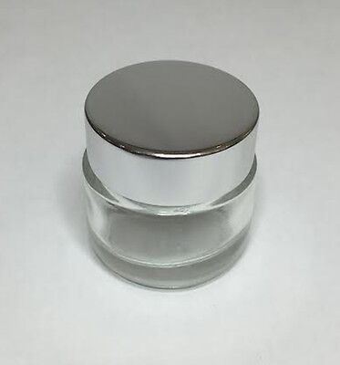 30ml Glass Jar, Clear Glass Jar With Shiny Silver Screw On Lid *ANY AMOUNT* • 6.95£