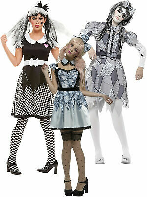 Ladies Damaged Broken Doll Costume Halloween Fancy Dress Womens Zombie Outfit • 11.95£