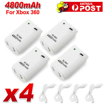 AU19.25 • Buy 4x For Xbox 360 Battery Charger Pack Wireless Rechargeable Controller USB Cable