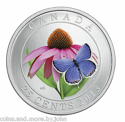$22.15 • Buy 2013 Canada 25-cent Color Coin Purple Cornflower & Eastern Tailed Blue Butterfly