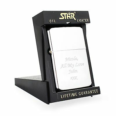 £4.99 • Buy Engraved Silver Lighter With Star Box - Valentines Gift For Him