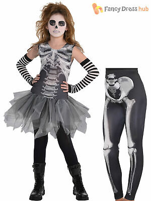 Girls Black & Bone Skeleton Tutu Leggings Fancy Dress Halloween Costume Kids • 8.95£