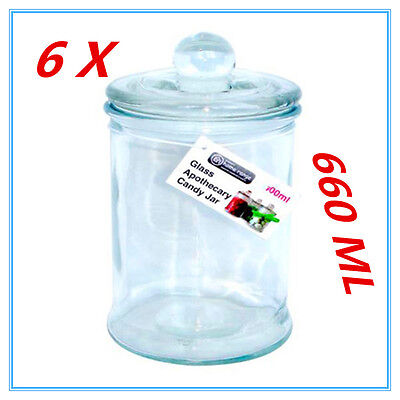 6 X Glass Apothecary Candy Lolly Buffet Jar Candle Waxing Wedding Party 660ML AP • 9.78£