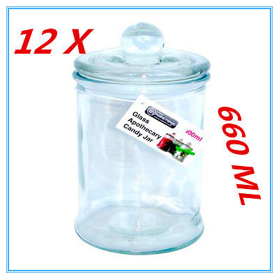 12X Glass Apothecary Candy Lolly Buffet Jar Candle Waxing Wedding Party 660ML AP • 19.70£