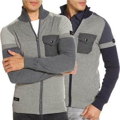 £13.50 • Buy Mens Zip Through Cardigan Dissident Sergeant Cotton Casual Sweater Knitwear