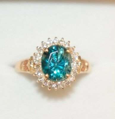 $1110 • Buy 18k Solid Gold Cluster Ring, Natural Blue Zircon 7.0CT And Diamond 0.31CT, Sz7.5