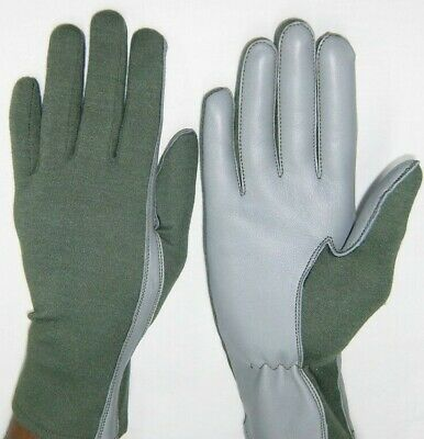 $10.99 • Buy PILOT GLOVES Leather NOMEX AIRFORCE Fire Resist TAN OLIVE Black White XS To XXL