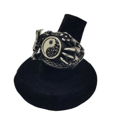 Yin And Yang Dragon Ring Chinese Peace Gothic Vintage Unisex 316 Stainless Steel • 9.49£