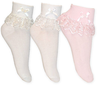 £2.85 • Buy Girls Cream White & Pink Jester Frilly Lace Ankle Socks Pack Of 1 Or 3 Pair