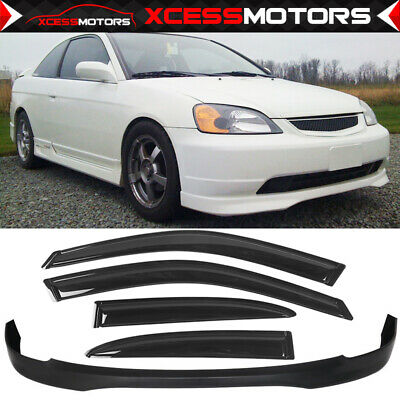 $91.99 • Buy Fits 01-03 Honda Civic T-R PP Front Bumper Lip + Sun Window Visor 4PC