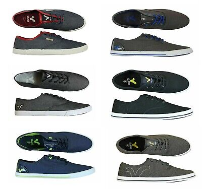 Mens New Voi  Pumps Canvas Shoes Footwear Clearance Black Blue Grey Sneakers • 12£