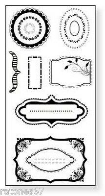 £2.86 • Buy New Fiskars ACCENTS Unmounted Cling Rubber Stamp Cicle Tags Frames Labels