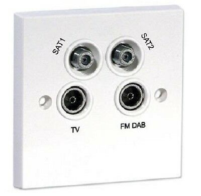 QUADPLEXED SKY SAT TV DAB Aerial Wall Socket • 12.99£