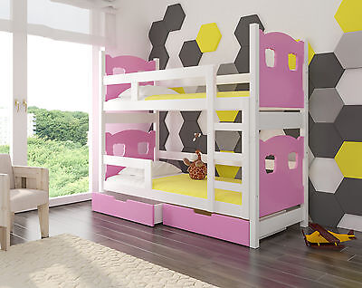 £375 • Buy Wooden Bunk Bed MARABO For Kids Made Of Solid Wood With 2 FREE MATTRSESSES