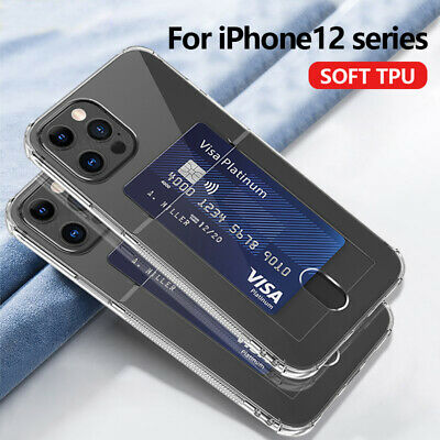 AU4.19 • Buy Slim Clear Card Holder Soft TPU Case Cover For IPhone 11 Pro Max XS X 8 6 7 Plus