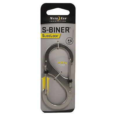 AU16 • Buy Nite Ize S-Biner SlideLock Steel Size 4 Stainless Steel LSB4-11-R3 With Tracking