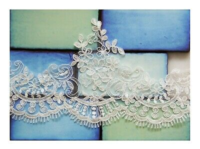 1/2 M*Corded /Scalloped Lace Trim-Bridal Fabric*Top QualityLight Ivory/Off White • 2.99£