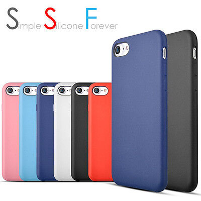 AU4.99 • Buy New Silicone Matte Back Case Cover For Apple IPhone 7 & 7 Plus +Screen Protector