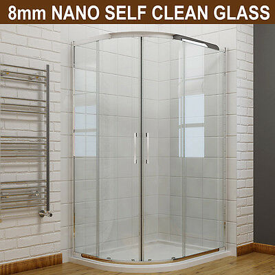 £258.99 • Buy Quadrant Shower Enclosure And Tray 8mm Easy Clean Nano Glass Shower Door Cubicle