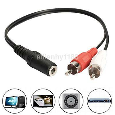 3.5mm Y Adapter Audio Cable Stereo Female Mini Jack To 2 RCA Male Adapter AUX UK • 1.39£