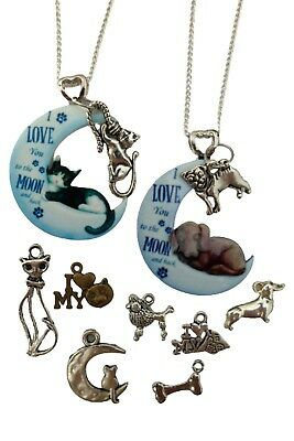 £7.97 • Buy SILVER NECKLACE KITTEN CAT PUPPY DOG Moon Pendant Love Heart Charm Gift + Bag