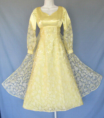 £43.24 • Buy VINTAGE 1950s 60s I. MAGNIN EVENING / BALL GOWN YELLOW FLORAL LACE TULIPS CAPE