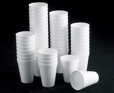 7oz 10oz 12oz WHITE FOAM / POLYSTYRENE HOT TEA DISPOSABLE CUP GLASS PARTY CUPS • 6.99£