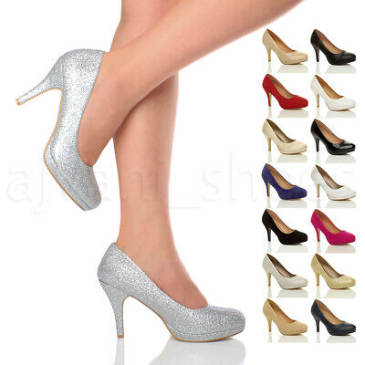 £17.99 • Buy Womens Ladies Mid High Heel Platform Party Work Evening Court Shoes Pumps Size