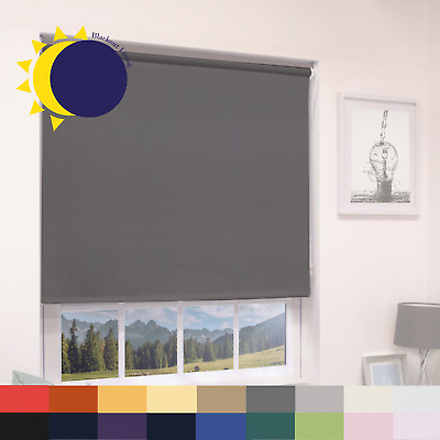 100% THERMAL BLACKOUT ROLLER BLINDS - UP TO 240cm WIDTH & MANY COLOURS • 45.99£