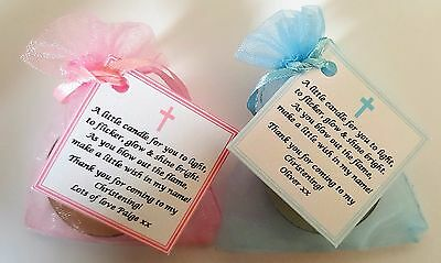 1-100 CHRISTENING FAVOURS Vanilla Candle Tealights - Personalised Gifts Baptism • 18.50£