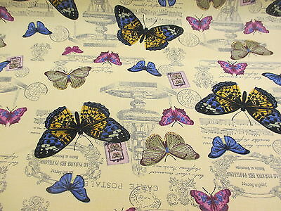 £4.95 • Buy Cream Butterfly/Butterflies Printed 100% Cotton Canvas Fabric.