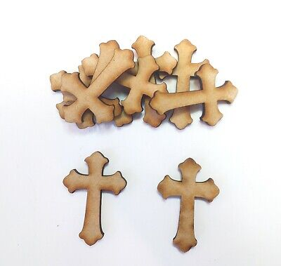 £3.29 • Buy Wooden Mdf CROSS Craft Shapes Tags Tree Decor 15 PACK 3mm Thick