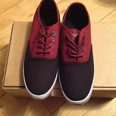 Mens Voi Cobalt Canvas Low Pump Trainer Plimsol Burgundy/black 7,8 • 8.50£