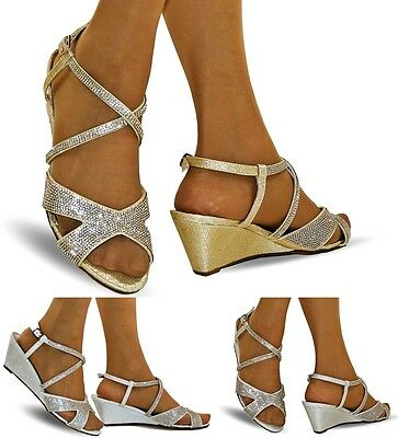 £14.98 • Buy NEW Ladies Party Bridal Diamante Ankle Straps Low Wedge Heel Shoes Sandal Size