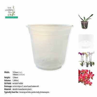 AU21.90 • Buy 150mm Teku Round CLEAR Plastic Pots. Suits Phalaenopsis & Other Orchid Plants