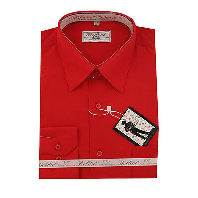 Solid Mens Dress Shirt French Convertible Cuff Boltini Italy - Red • 12.76£