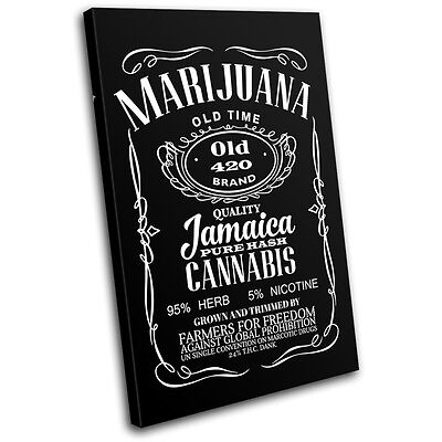 Cannabis Weed Whisky Parody Typography SINGLE CANVAS WALL ART Picture Print • 15.99£