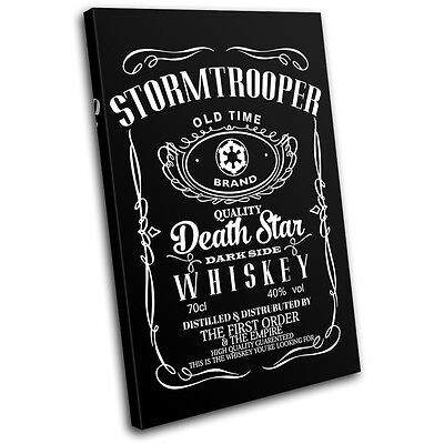 Star Wars Whisky Parody Typography SINGLE CANVAS WALL ART Picture Print • 15.99£