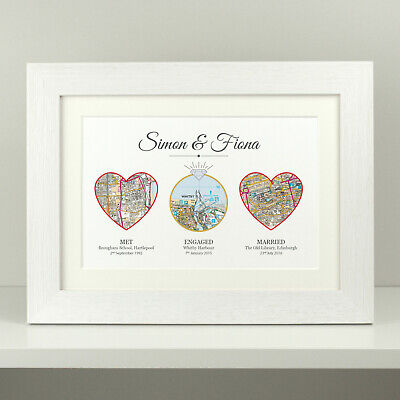Personalised Anniversary Gift / Wedding Present Met Engaged Married Lived OS Map • 10.49£