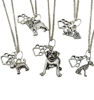 £6.47 • Buy SILVER NECKLACE DOG LOVERS PAW PRINT Unique Canine Gift + Bag