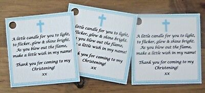 CHRISTENING / BAPTISM CANDLE FAVOURS GUEST LABELS ** TAGS  -Can Be Personalised  • 19.99£