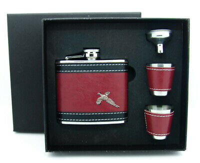 £26.90 • Buy PEWTER PHEASANT MOTIF HIP FLASK 2 CUP FUNNEL BOX SET Countryside Shooting Gift