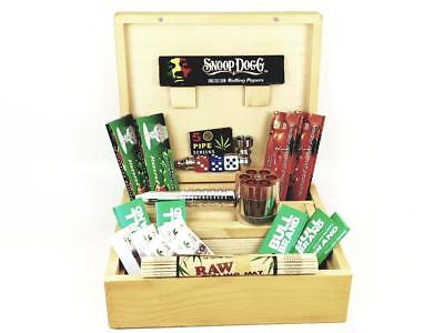 Deluxe Gift Set Large Wooden Smoking Smokers Rolling Box  • 19.99£