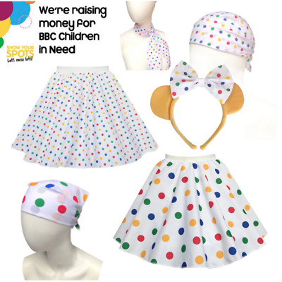 CHILDS GIRLS Fancy Dress CHILDREN IN NEED Polka Dot Pudsey SKIRT Accessories  • 7.99£