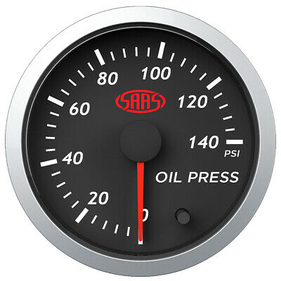 AU69.99 • Buy SAAS Streetline Series Oil Pressure 52mm Gauge Black Face 7 Colour Lighting