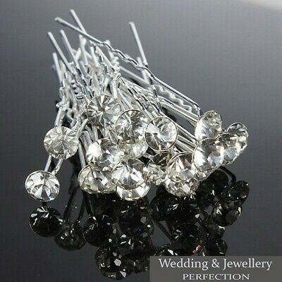 Round Wedding Hair Pins Bridesmaid Crystal Diamante Bridal Hair Clips Grips New • 2.25£