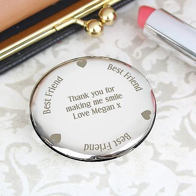 Personalised Engraved Best Friend Compact Mirror: Birthdays, Wedding, For Her • 7.99£