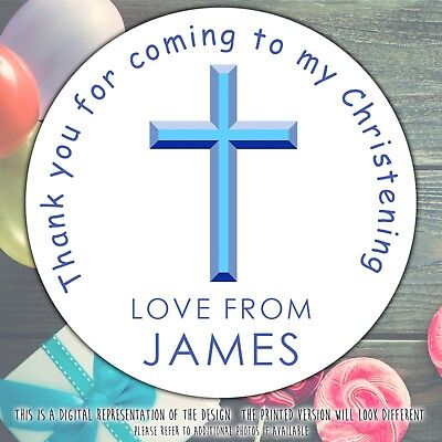 £2.39 • Buy Personalised Baptism Christening Stickers Blue Cross Labels Party Cone Sheet