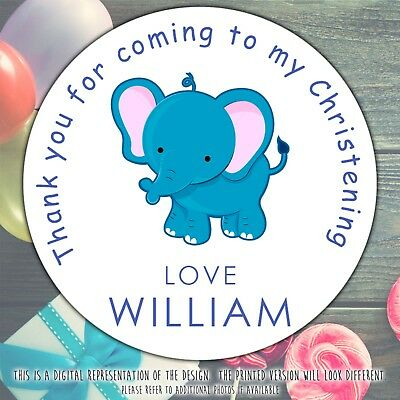 £2.49 • Buy Personalised Blue Elephant Christening Round Stickers Labels Party Cone Sheet
